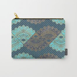 French Folk - vintage gold and turquoise fans on navy blue Carry-All Pouch