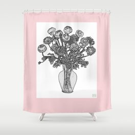 Spring Flowers in Vase on Fresh Shell Pink Background Shower Curtain