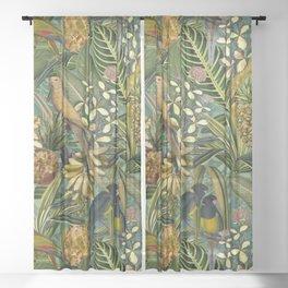 Vintage & Shabby Chic - Green Tropical Bird Flower Garden Sheer Curtain