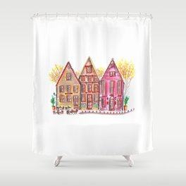 Coloured houses II Shower Curtain