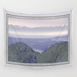 OLYMPIC RANGE AS SEEN FROM ORCAS ISLAND OVER MOUNT ENTRANCE Wall Tapestry