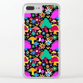 60's Funky Forest in Black Clear iPhone Case