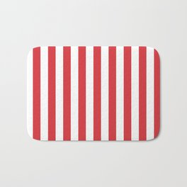 Poppy Red Simple Basic Striped Pattern Bath Mat