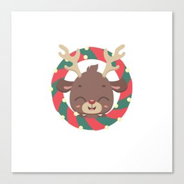 Cute reindeer and goodies in christmas stocking Canvas Print