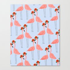 Flower Power Flamingos Canvas Print