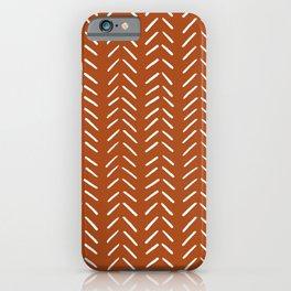 Minimalist Hand Drawn Herringbone Pattern (white/burnt orange) iPhone Case