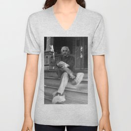Albert Einstein in Fuzzy Slippers Classic Black and White Photography Unisex V-Neck