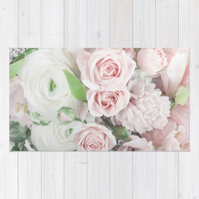 Pastel Pink Flowers Rug By Newburydesigns Society6