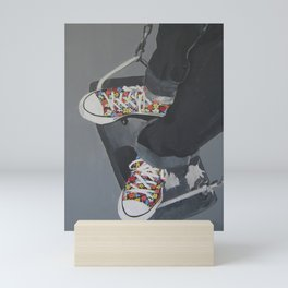 Flowered Converse shoes on a swing Mini Art Print