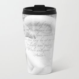 Guardian Angel Prayer | White Angel | Religious Art | Baptism | First Communion Metal Travel Mug
