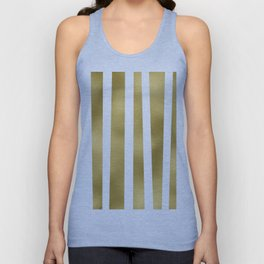 Gold unequal stripes on clear white - vertical pattern Unisex Tank Top