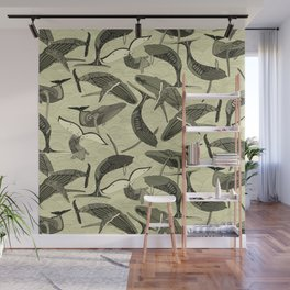 whales and waves natural Wall Mural