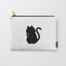 Black Cat Licking Its Paw  Carry-All Pouch