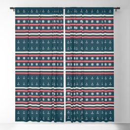 Ships Ahoy Blue/Red Stripe Blackout Curtain
