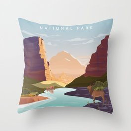 Zion national park  vintage travel poster Throw Pillow