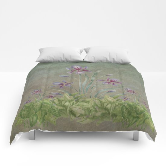 Painterly Spring Flower Garden  Comforters