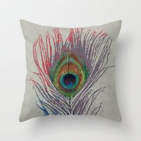 peacock feather Throw Pillows featuring Peacock Feather by Michael Creese