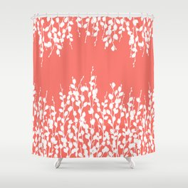 Pussywillow Silhouettes — Living Coral Shower Curtain