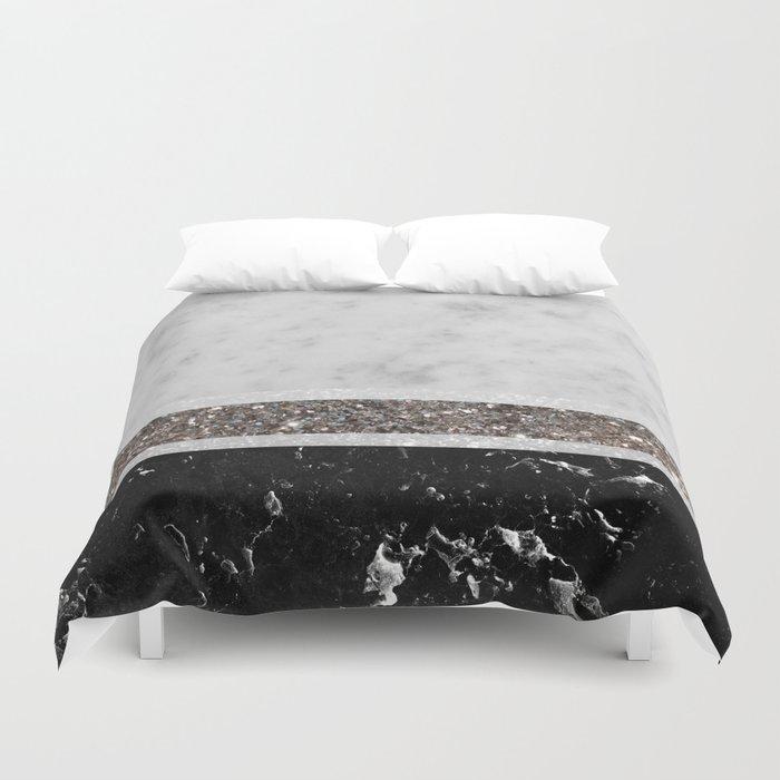 White and Black Marble Silver Glitter Stripe Glam #1 #minimal #decor #art #society6 Duvet Cover