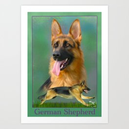 German Shepherd Breed Art with Name Plate Art Print