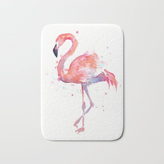 Flamingo Watercolor Bath Mat