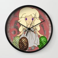 mother of dragons Wall Clocks featuring Mother of Dragons by Cosmic Lab Creations