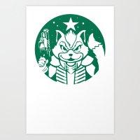 starfox Art Prints featuring Starfox Coffee by Jimiyo