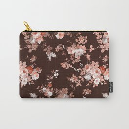 Modern burgundy rose gold coral glitter floral Carry-All Pouch