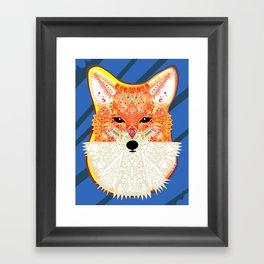 Fox in Blue Framed Art Print