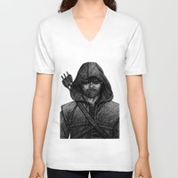 green arrow V-neck T-shirts featuring Arrow by Jack Kershaw