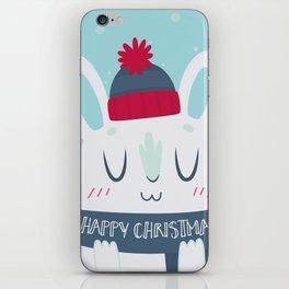 Cozy Winter Rabbit Christmas Card iPhone Skin