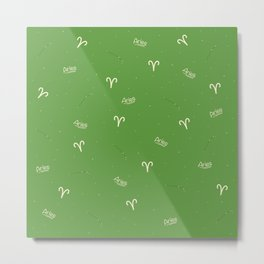 Aries Pattern - Green Metal Print