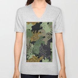Modern military camouflage art glitter illustration pattern Unisex V-Neck