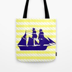 Blue Ship with Yellow Ropes Tote Bag