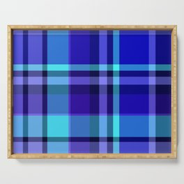 Blue Plaid Pattern Serving Tray