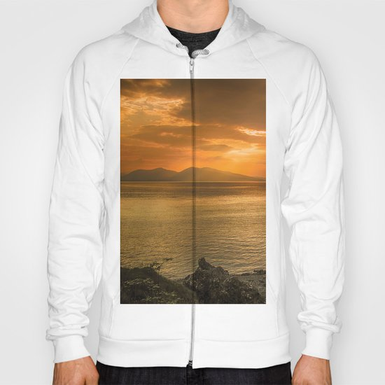 Sunset over Lismore Island of the shores of Oban in the west of Scotland. Hoody