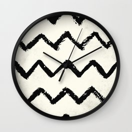 ZigZag Stripes on Ivory Wall Clock