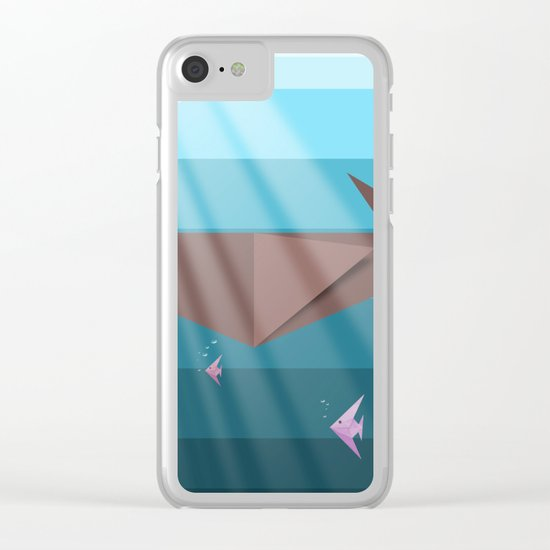 LIVING SEA (Origami) Clear iPhone Case