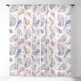 Summer pink lilac watercolor polka dots sea shells Sheer Curtain