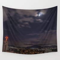 seoul Wall Tapestries featuring Seoul Moonlight by Clayton Jones