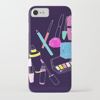 makeup iPhone & iPod Cases featuring Retro Makeup by minniemorrisart