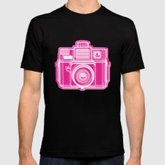I Still Shoot Film Holga Logo - Pink SMALL Black Mens Fitted Tee