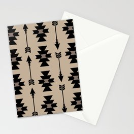 Southwestern Arrow Pattern 232 Black and Beige Stationery Cards