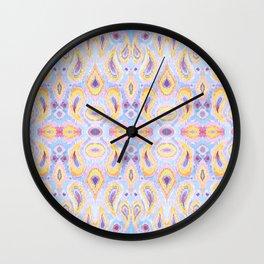 Ikat Paisley Blue and Magenta Pattern Wall Clock