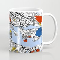 stockholm Mugs featuring Stockholm mondrian by Mondrian Maps