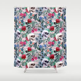 Flowers and Skulls (Pink) Shower Curtain