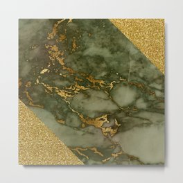 Green Marble with Gold and Glitter I Metal Print