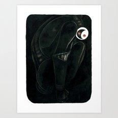 Moonbot #0: Black Art Print