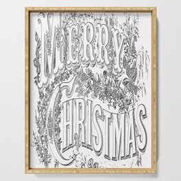 Vintage Merry Christmas Holiday Greeting (Black Text) Serving Tray