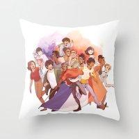 les miserables Throw Pillows featuring Les Miserables: Un Groupe Qui a Failli Devenir Historique by batcii